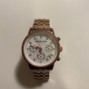 MK5026 Damen Rose Gold Tone Chronograph Watch